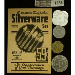 "1286 _ Original ""Get This Genuine Lady Esther Silverware Set For Only 59c"" Punch card; & (4) Differe"