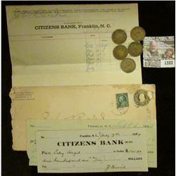 "1287 _ (2) Different ""Citizens Bank Franklin, N.C."" 1924 era Checks (hole cancelled) with Deposit in"