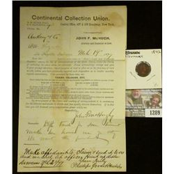 "1289 _ March 19, 1877 Court letter from ""Continental Collection Union…Broadway, N.Y.""; & 1842 Denmar"