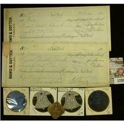 "1292 _ Pair of 1900 era Sight Drafts ""Bawd & Dotter…New York"", both with Documentary Stamps; & (5) O"