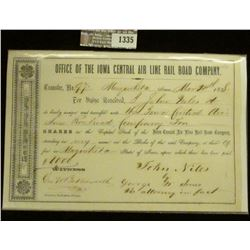 "1335 _ March 20, 1858 Ten Shares of Stock in the ""Office of the Iowa Central Air Line Rail Road Comp"