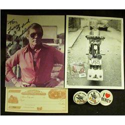 "1341 _ ""I Love Mercy"" Pin-back; pair of ""University of Iowa Homecoming '71"" Pin-backs; Peru, Indiana"