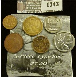 1343 _ Six-Piece Type Set of South Africa Coins.