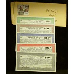 "1354 _ $5, $10, $15, $25, & $50 ""United States of America - State of New Jersey Borough of Lodi Coun"
