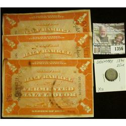 "1356 _ (3) Series 1934 ""Stamp for Half Barrel Fermented Malt Liquor"" United States Internal revenue;"