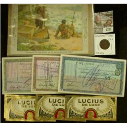 "1373 _ (3) Different British Traveller's Checks; (5) ""Lucius De Luxe Clear Havanna"" Cigar Box Labels"
