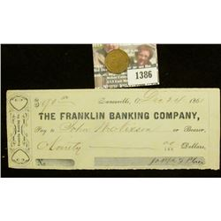 "1386 _ Dec. 24, 1861 Zanesville, O. ""The Franklin Banking Company"" Check for $90.00; & ""Sales Premiu"
