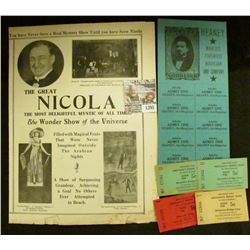 "1395 _ ""Heaney, The Magician"", ""World's Foremost Magician and Company"" with ten attached tickets; a"