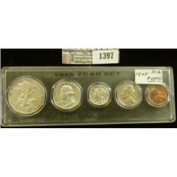 1397 _ 1945 Year Set of U.S. Coins, Brilliant Uncirculated to EF, and stored in a Snaptight Case.
