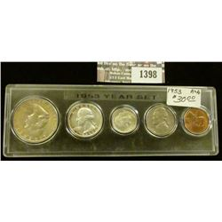 1398 _ 1953 Year Set of U.S. Coins, Brilliant Uncirculated to EF, and stored in a Snaptight Case.