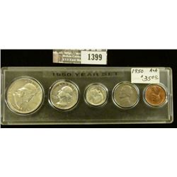 1399 _ 1950 Year Set of U.S. Coins, Brilliant Uncirculated to EF, and stored in a Snaptight Case.