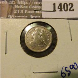 1402 _ 1853 Seated Half Dime With Arrows.  This Coin Has Full Rims