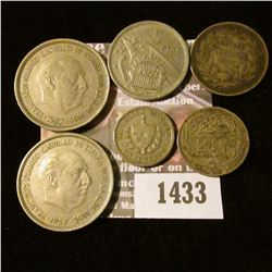 1433 _ Foreign Coin Lot: 1916 Chile 20 Centavos; 1917H Egypt 2 Piastres; 1920 Cuba Centavo; 1957 Spa