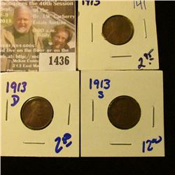 1436 _ 1913, 1913-D, and 1913-S Wheat Cents