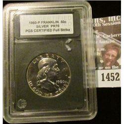 1452 _ 1960 P Franklin Half Dollar PGS Graded Proof 70 Full Strike