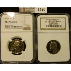 1470 _ 1968-S Washington Quarter Graded Proof 67 Cameo By NGC and 1992-S Proof Washington Quarter Gr
