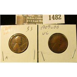 1482 _ 1909 P & 1909 P VDB Lincoln Cents, both grading VG.