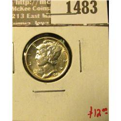 1483 _ 1942 Mercury Dime, BU MS63+, value $12