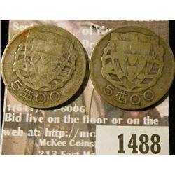 1488 _ 1933 & 1934 Portugal Five Escudos.