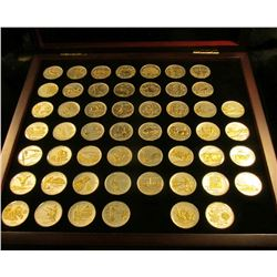 1496 _ Gold & Silver Highlighted Statehood Quarters in Display Box with C.O.A. 52 pcs. plated in .99