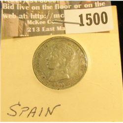 1500 _ 1904 SM-V Spain One Silver Peseta, VF.