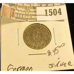1504 _ 1877 B Germany Silver 50 Pfennig, VF.