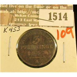 1514 _ 1853A Prussia, Germany 3 Pfennig, K453, VF.