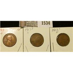 1534 _ 1917 P, D, & S Lincoln Cents grading good to Fine.