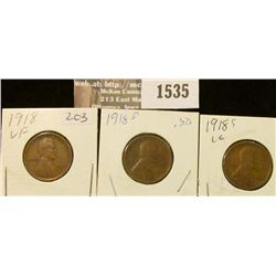 1535 _ 1918 P, D, & S Lincoln Cents grading good to very Fine.
