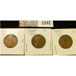 1542 _ 1929 P, D, & S U.S. Wheat back Lincoln Cents. All VG to EF.