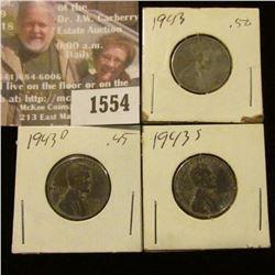 1554 _ 1943 P, D, & S U.S. World War II Steel Cents.