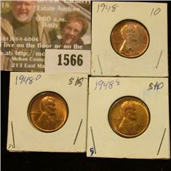 1566 _ 1948 P, D, & S U.S. Lincoln Cents, Brilliant Uncirculated.