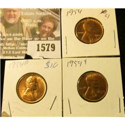 1579 _ 1954P, D & S U.S. Lincoln Cents, Brilliant Uncirculated.