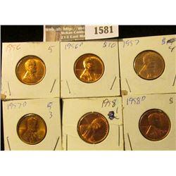 1581 _ 1956P, D, 57P, D, & 58 P, D Lincoln Cents. All Brilliant Uncirculated.