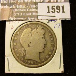 1591 _ 1907 O Barber Half Dollar, Good.