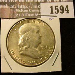 1594 _ 1951 S Franklin Half Dollar.