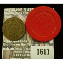 1611 _ Casino De La Vallee, 200 Red Plastic Token & Malmo Stads Sparvagar MSS, L Pollett Brass token