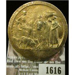 1616 _ Large Yellow Brass Medal 1910 Exposicion Internacal De Agricultur Sociedad Argentina Buenos A