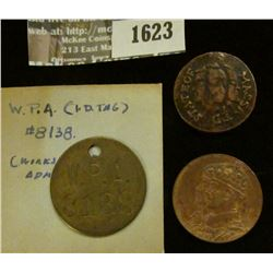 1623 _ W.P.A. (Works Progress Administration) #8138 ID tag, 1776 Copy of Colonial American Coin & 19
