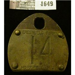 1649 _ Large Metal Dairy Cow Tag, Crestfield Farm, 14, Hopewell, N.J.