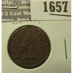 1657 _ 1863 Civil War Token. Indian Head on Obv. Rev Flags Drum and Cannons. EF