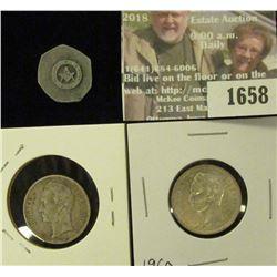1658 _ 1954 , 1960 Venezeula Bolivar and 7 Sided Uniface Masonic Medal.