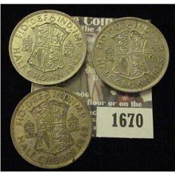 1670 _ (2) 1942, 1945 Great Britain Silver Half Crowns.