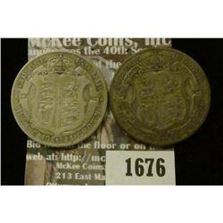 1676 _ 1924, 1926 Great Britain Silver Half Crowns.