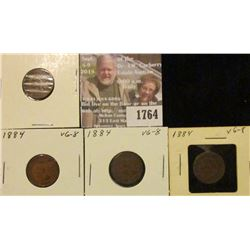 1764 _ (3) 1884 Indian Head Cents. VG-8.