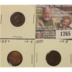 1765 _ (3) 1884 Indian Head Cents. VG-8.