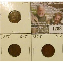 1788 _ (3) 1879 Indian Head Cents, G-4.