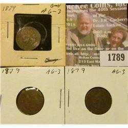 1789 _ (3) 1879 Indian Head Cents, AG-3