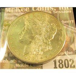 1802 _ 1881 S U.S. Morgan Silver Dollar, Brilliant Uncirculated.