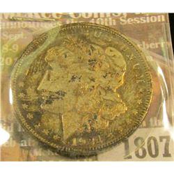 1807 _ 1921 P U.S. Morgan Silver Dollar. Heavily toned.